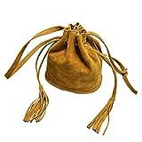 B-PING レディース 女性 巾着型 バッグ バケットバッグ 斜め掛けバッグ かばん 鞄 バック 筒型 通勤 通学 (イエロー)