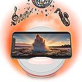 【heecavs】 高音質 スピーカー qi ワイヤレス充電器付き 調節可能な夜間ライト 適用 7.5W iPhone 8/8 plus/X/XR/XS/XS MAX, 10W Samsung Galaxy S10 / S9 Plus/Note 8 / S8 Plus / S8 / S7 / S6 Edge Plus Qi対応デバイス(赤)