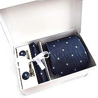 MFYS メンズ ネクタイ ピン カフス ボタン チーフ 5点セット 11色選択可能 ビジネス 就活 結婚式 入学式 卒業式 二次会 冠婚葬祭 パーティー 父の日 プレゼント ギフトボックス付き (Style-9)