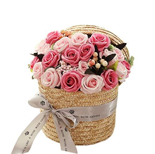 竹かご石鹸花束 ソープフラワー ギフトボックス ブーケ バラ造花 誕生日プレゼント 結婚祝い 進学祝い 卒業お祝い 記念日 母の日 (ピンク)