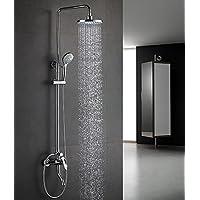 YYF-SHOWER シャワーセット、 ステンレス鋼 銅継手、 レトロクリエイティブ 壁掛け式 8インチトップスプレー 円形 ハンドシャワー 持ち上げることができる、 多機能 冷たいお湯 シングルハンドル 3ホールマウント 1.5mホース (色 : シルバー しるば゜)