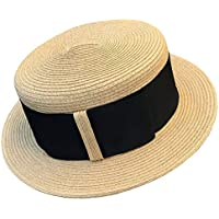Melniko City Women's Straw Boater Summer Hat Flat Top Retro 1920