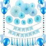 誕生日 飾り付けセット バースデー パーティー 飾り 超豪華 ブルー系 HAPPY BIRTHDAYガーランド ペーパーファン ペーパーフラワー 37点セット (ブルー)