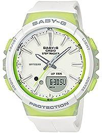 【安心2年保証】BABY-G CASIO STEP TRACKER ステップトラッカー BGS-100-7A2 ホワイト イエロー 女性用 腕時計 ランニング ジョギング 防水 軽量 アナログ デジタル レディース 歩数カウント機能 [並行輸入品]