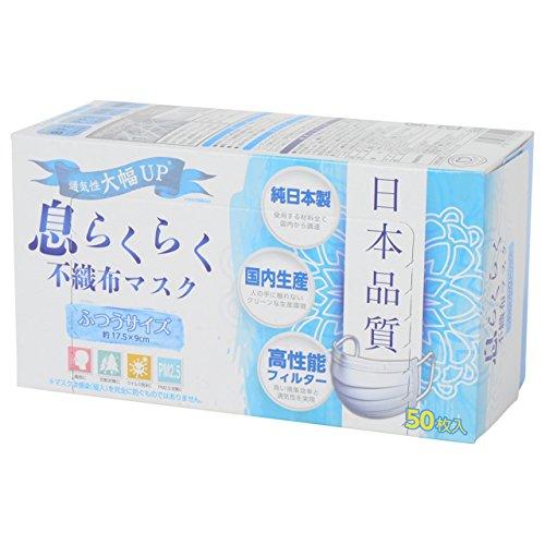 アズフィット 日本品質 息らくらく 不織布マスク ふつうサイ...