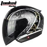 TankedRacingT536 ジェットヘルメット ジェット おしゃれ バイクヘルメット TankedT536 Tanked Racing T536 bike helmet バイク用品 内装洗濯可能 おすすめ シールド付 レディース メンズ (サイズM:54cm-56cm)