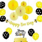 JeVenis Happy Bee Day バナー 18個セット Happy Bee Day ケーキトッパー バンブルビー ベビーシャワー 装飾 バンブルビー バルーン ベビーシャワー 1歳の誕生日 マルハナバチ 装飾 蜂 パーティー