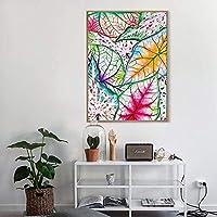 カラフルな葉ポスターキャンバス印刷壁アート絵画写真用キッズ寝室ホームデコレーション-50x70cmx1ピースなしフレーム