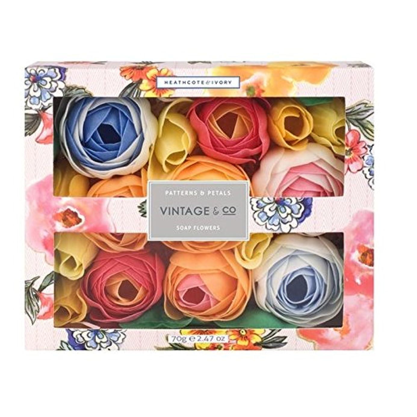 文化真向こうラフ睡眠ヒースコート&アイボリーパターン&花びら石鹸の花70グラム x4 - Heathcote & Ivory Patterns & Petals Soap Flowers 70g (Pack of 4) [並行輸入品]