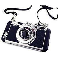 立体カメラ型iPhone8 ケース iPhone8 ネックストラップ付 (iphone8, ブラック)