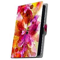 タブレット 手帳型 タブレットケース タブレットカバー カバー レザー ケース 手帳タイプ フリップ ダイアリー 二つ折り 革 花 カラフル 001203 ADP-738 Geanee ジーニー adp738xxxx adp738xxxx-001203-tb