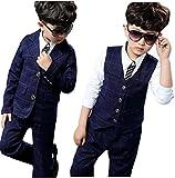 Eiza 男の子 フォーマル スーツ 3点 セット ジャケット ベスト パンツ チェック 柄 紺色 結婚式 発表会 e144 (120cm)