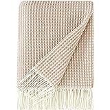David's Home Knit Throw Blanket for Travel Picnic Beach Soft Chunky Cozy Fringed Warm Acrylic Waffle Weave Texture Decorative 125cm x 150 cm Khaki
