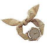 PolytreeレディースGirl 's花柄布バンドフラワードレスクォーツ腕時計(タイプ17)