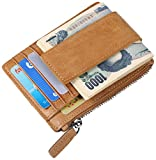 [パボジョエ]Pabojoe カード入れ カードケース 財布 メンズ レザー 小銭入れ付き 名刺 入れ RFIDブロッキング 超薄型 軽い コンパクト ホルダー ブランド 多機能 男女兼用 カーキ