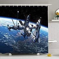 フック付きシャワーカーテンセット60x72スペースシャトル国際家具付きステーション3D ESA宇宙飛行士宇宙船科学技術惑星防水ポリエステル生地バスルーム用バス装飾 165X180 CM