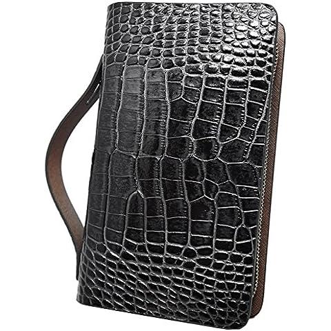 5e0a0689fd72 ブラック F クロコダイル クロコ レザー セカンドバッグ セカンドバック 長財布 メンズ 財布 本革 YKK