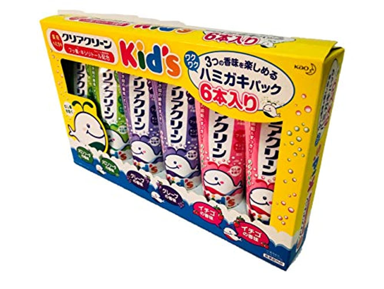 先入観全能アナウンサークリアクリーン Kids ハミガキ 6本入りパック (メロンソーダ?グレープ?イチゴ)70g×6本 薬用ハミガキ