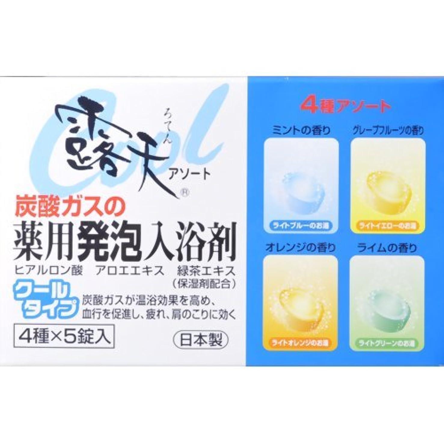 人類ジュース生む薬用発砲入浴剤 露天 クールタイプアソート 20錠(4種×各5個)入