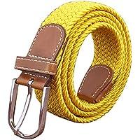 Aiweijia Men Women Junior Woven Elastic Braided Belts Prong Buckle Casual Belt