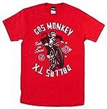 """ユニセックス Tシャツ 【ガス・モンキー・ガレージ / """"Monkey Moto"""" GMON0021 モンキー・モート デザイン / M サイズ / レッド】 【並行輸入品】"""
