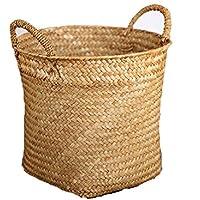 ハンドル付き織物収納バスケット籐収納ボックス