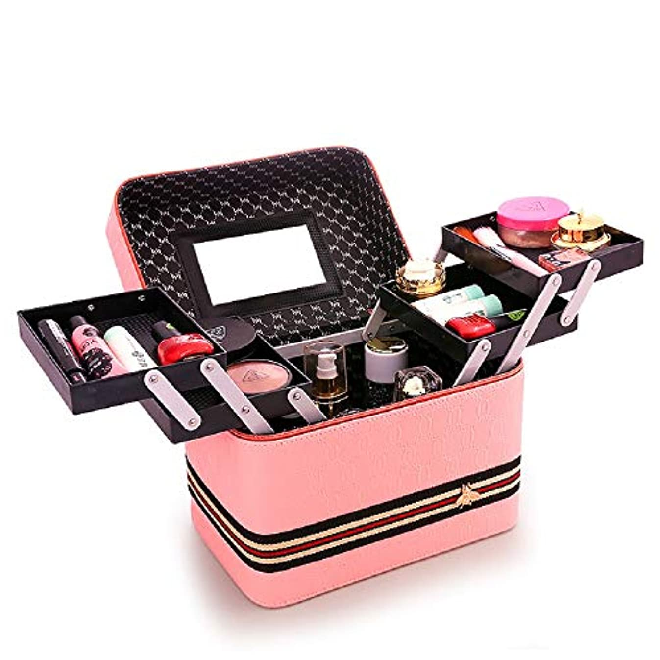 メイクケース 高品質 コスメ収納スタンド 大容量 コスメケース 收納抜群 メイクブラシバッグ 旅行用 収納ケース 化粧。取っ手付き おしゃれ 鏡付き 機能的 防水 化粧箱 (24CM*18CM*24CM, ピンク)