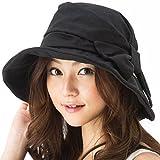 クイーンヘッド UVカット 小顔効果 サイドリボンハット 帽子 レディース ハット 大きいサイズ つば広 UV 紫外線カット (BIGサイズ(63cm)-ブラック)