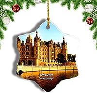 Weekinoシュヴェリーン城ドイツクリスマスオーナメントクリスマスツリーペンダントデコレーション旅行お土産コレクション陶器両面デザイン3インチ
