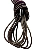 (クツヒモドットコム)靴ひも.com ロー引き・石目柄・丸・(約2mm)・濃茶・340cm・ひも先加工-黒ニッケル金属 ・みつろう有り