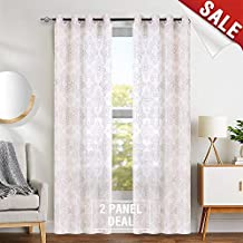 "jinchan Embroidered Sheer Curtains Living Room Embroidery Curtains Bedroom Grommet Top 84"" L Taupe & Brown"