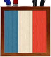 Rikki Knight French Southern and Antarctic Lands Flag on Distressed Wood Design 5-Inch Wooden Tile Pen Holder (RK-PH8712) [並行輸入品]