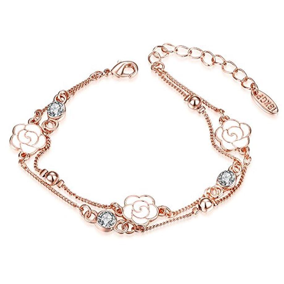 接続コークスパスタかわいい ブレスレットバラ桜の花??k 三一輪の花??ブレスレット女款 流行