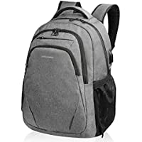 KROSER Laptop Backpack 15.6 Inch Computer Backpack School Backpack Casual Daypack Water-Repellent Laptop Bag with USB Charging Port for Travel/Business/College/Women/Men-Grey