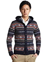 Fair Isle Hooded Cardigan Sweater 1228-117-0153: Navy