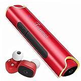 Bluetooth イヤホン スポーツ ワイヤレスイヤホン 片耳 両耳とも対応 高音質 カナル型 ワンボタン設計 軽量 防水 防滴 ヘッドセット マイク内蔵 通話可 iPhone Android 対応 (レッド)