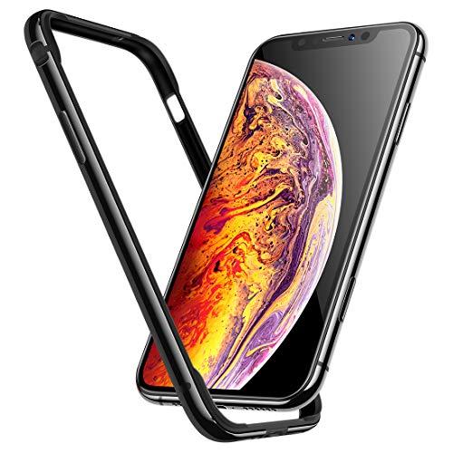 iPhone Xs ケース iPhone X ケース [ アルミ シリコン ] [ レンズ保護 衝撃 吸収 ] アイフォン X 用 耐衝撃 カバー ( iPhone Xs , iPhone X , ジェットブラック )【Humixx】
