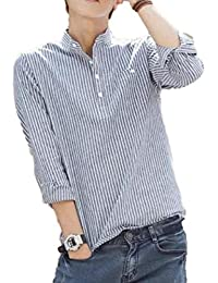 [meryueru(メリュエル)] ストライプ 長袖 シャツ オシャレ スマート デザイン 薄手 トップス 春 秋 メンズ