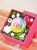 プリザーブドフラワー レインボーローズ ホットピンクパステルボックス 贈り物・お祝い・結婚祝い・記念日・