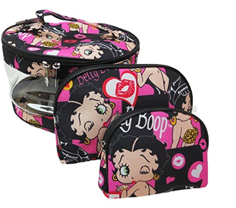 ロマンチックフライカイト上陸Betty Boop ベティーブープ コスメティックバッグ3Pセット (ブラック)