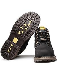 ?リョウピン?メンズブーツ 本革 ブラウン ハイカット カジュアルシューズ レースアップシューズ ワークシューズ ウォーキング 革靴 大きいサイズ 27.5cm 28.0cm イエロー ブラック ブラウン カーキ