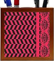 Rikki Knight Damask Hounds tooth Black Pink Design 5-Inch Tile Wooden Tile Pen Holder (RK-PH44666) [並行輸入品]