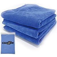 【 CARZOC 】 最優秀賞受賞 マイクロファイバー 超吸水 タオル 洗車職人のこだわり 洗車の時短に 3枚セット ( 40cm × 40cm )