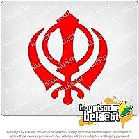 カンダシーク教 Khanda Sikhism 12cm x 10cm 15色 - ネオン+クロム! ステッカービニールオートバイ