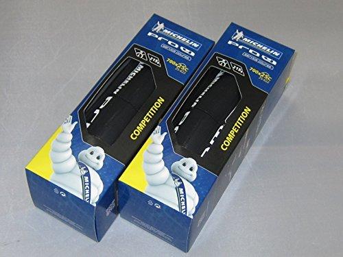 【正規代理店品】 Michelin【ミシュラン】 Pro4 Service Course V2 【プロ4サービスコース V2】 ロード用クリンチャータイヤ 2本セット (ブラック, 700×23)
