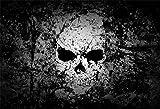 csfoto 5?x 91センチ背景抽象スカルグランジ写真用背景幕ホラーハロウィンDirtyブラックオービットDangerous Terrible Celebrate祭装飾フォトスタジオ小道具ポリエステル壁紙