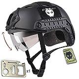 ATAIRSOFT Fast エアソフトアウトドア エアソフトヘルメット米軍風 多機能サバゲーヘルメットバイザー付き ロードバイク用 オートバイ用 作業用など マウントレール付き ABS製 かっこいいヘルメット オリジナル (ブラック)