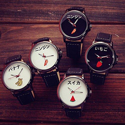 ZooooM おもしろ ウォッチ シンプル デザイン 文字盤 アナログ 腕 時計 ファッション アクセサリー ユニーク カジュアル メンズ レディース 男性 女性 (ニンジン:ホワイト) ZM-TABEMOJI-NIWH