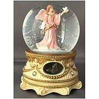ガーディアンエンジェルwithピンクFlowing Gown Holding Dove – Sculptured樹脂水ボール音楽ボックス5 3 / 4
