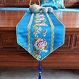 サテンテーブルランナー/刺繍花/テーブルクロス/結婚式の宴会の装飾/フリンジ付き/ダストカバー/ディナーナプキン g (Color : Blue-, Size : 30×210cm)